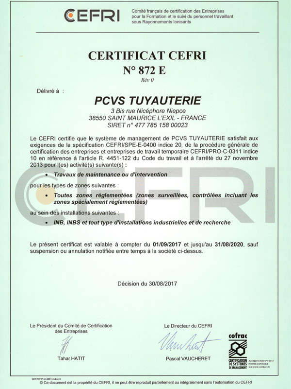 Certification CEFRI E PCVS