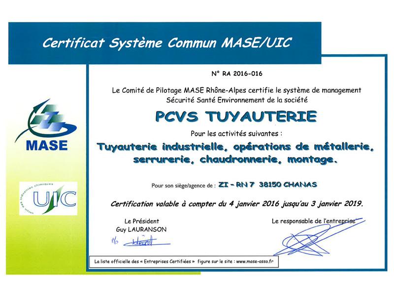 PCVS Certification MASE